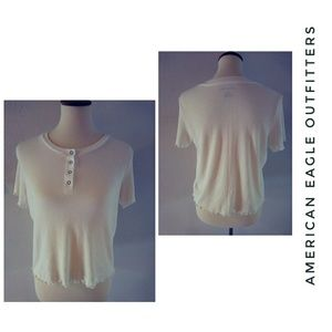 AEO White Ribbed Short Sleeve Button Tee M